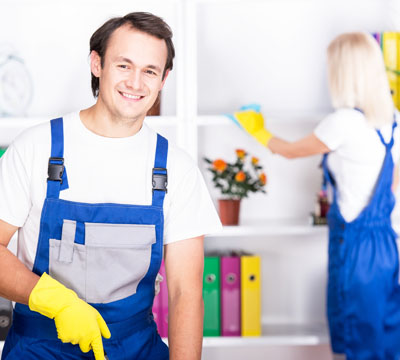 Professional cleaning of living room with their team