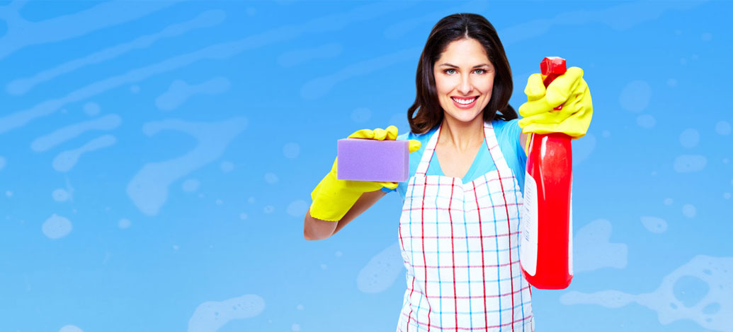 Smiling Female cleaner with cleaning spung and spray