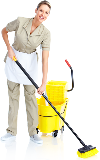 Female cleaner performing Cleaning using a mop and other equipments